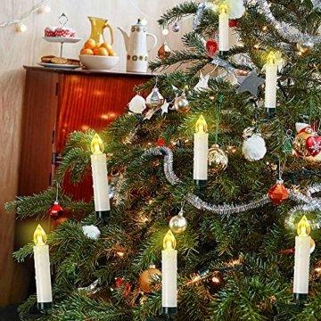 Weihnachtskerzen 10/20/30/40 Sets OZAVO, Christbaumkerzen mit Fernbedienung, kabellose Mini LED Kerzen, Weihnachtsbaumbeleuchtung 2 Lichtmodifikationen, Weihnachten(40 Sets) - 4