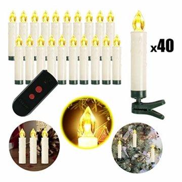 Weihnachtskerzen 10/20/30/40 Sets OZAVO, Christbaumkerzen mit Fernbedienung, kabellose Mini LED Kerzen, Weihnachtsbaumbeleuchtung 2 Lichtmodifikationen, Weihnachten(40 Sets) - 1