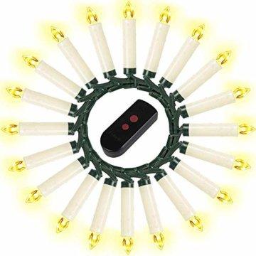 Weihnachtskerzen 10/20/30/40 Sets OZAVO, Christbaumkerzen mit Fernbedienung, kabellose Mini LED Kerzen, Weihnachtsbaumbeleuchtung 2 Lichtmodifikationen, Weihnachten(20 Sets) - 2