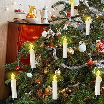 Weihnachtskerzen 10/20/30/40 Sets OZAVO, Christbaumkerzen mit Fernbedienung, kabellose Mini LED Kerzen, Weihnachtsbaumbeleuchtung 2 Lichtmodifikationen, Weihnachten(20 Sets) - 3