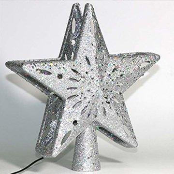 Weihnachtslichter, 3D-Hohlstern-Weihnachtsbaumspitze, rotierende LED-Schneeflocken-Projektor-Lichter, für Weihnachtsbaum-Dekoration, Weihnachtsbaum-Dekoration B - 2
