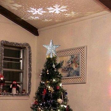 Weihnachtslichter, 3D-Hohlstern-Weihnachtsbaumspitze, rotierende LED-Schneeflocken-Projektor-Lichter, für Weihnachtsbaum-Dekoration, Weihnachtsbaum-Dekoration B - 4