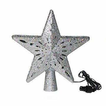 Weihnachtslichter, 3D-Hohlstern-Weihnachtsbaumspitze, rotierende LED-Schneeflocken-Projektor-Lichter, für Weihnachtsbaum-Dekoration, Weihnachtsbaum-Dekoration B - 1