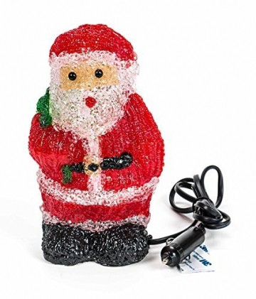 Weihnachtsmann, 16 LEDs, Acryl Weihnachtsfigur, Zigarettenanzünder 24V, Innendekoration, Höhe ca. 20 cm - 1