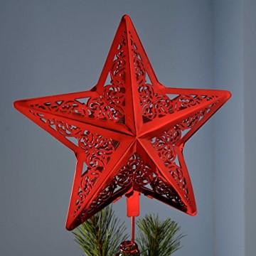 WeRChristmas Star Weihnachten Weihnachtsbaumspitze Dekoration, Plastik, rot, 30 x 23 x 6.5 cm - 3