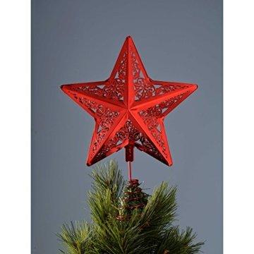 WeRChristmas Star Weihnachten Weihnachtsbaumspitze Dekoration, Plastik, rot, 30 x 23 x 6.5 cm - 4