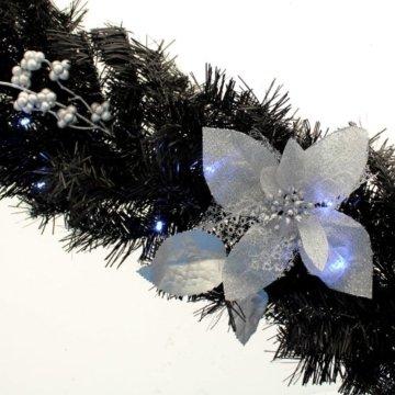WeRChristmas Weihnachtsdekoration 9ft beleuchteter Weihnachtsgirlande beleuchtet mit 40cool weiß LED-Lichtern, schwarz/Silber - 3