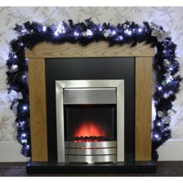 WeRChristmas Weihnachtsdekoration 9ft beleuchteter Weihnachtsgirlande beleuchtet mit 40cool weiß LED-Lichtern, schwarz/Silber - 4