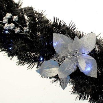WeRChristmas Weihnachtsdekoration 9ft beleuchteter Weihnachtsgirlande beleuchtet mit 40cool weiß LED-Lichtern, schwarz/Silber - 5
