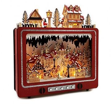 Wichtelstube-Kollektion LED Weihnachtsdeko Holz beleuchtet Weihnachtsfernseher Lichterbogen Weihnachten - 3