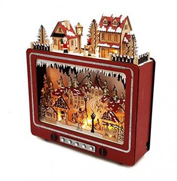Wichtelstube-Kollektion LED Weihnachtsdeko Holz beleuchtet Weihnachtsfernseher Lichterbogen Weihnachten - 4