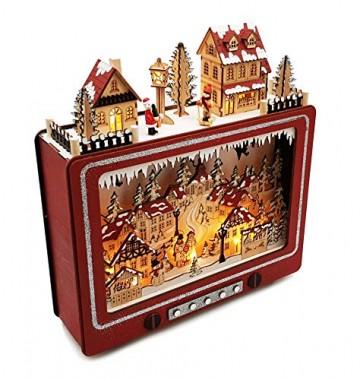 Wichtelstube-Kollektion LED Weihnachtsdeko Holz beleuchtet Weihnachtsfernseher Lichterbogen Weihnachten - 5