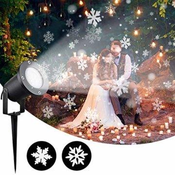 Wilktop Led Projektionslampe Weihnachtsbeleuchtung Led Projektor für Weihnachten/Halloween Projektionslampe Wasserdichte IP65 Weihnachtsbeleuchtung Außen LED Schneeflocke Weihnachten (Weiß Snowflake) - 4