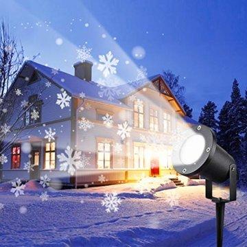 Wilktop Led Projektionslampe Weihnachtsbeleuchtung Led Projektor für Weihnachten/Halloween Projektionslampe Wasserdichte IP65 Weihnachtsbeleuchtung Außen LED Schneeflocke Weihnachten (Weiß Snowflake) - 1