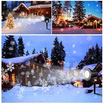 Wilktop Led Projektionslampe Weihnachtsbeleuchtung Led Projektor für Weihnachten/Halloween Projektionslampe Wasserdichte IP65 Weihnachtsbeleuchtung Außen LED Schneeflocke Weihnachten (Weiß Snowflake) - 5