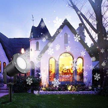 Wilktop Led Projektionslampe Weihnachtsbeleuchtung Led Projektor für Weihnachten/Halloween Projektionslampe Wasserdichte IP65 Weihnachtsbeleuchtung Außen LED Schneeflocke Weihnachten (Weiß Snowflake) - 6