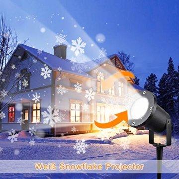 Wilktop Led Projektionslampe Weihnachtsbeleuchtung Led Projektor für Weihnachten/Halloween Projektionslampe Wasserdichte IP65 Weihnachtsbeleuchtung Außen LED Schneeflocke Weihnachten (Weiß Snowflake) - 7