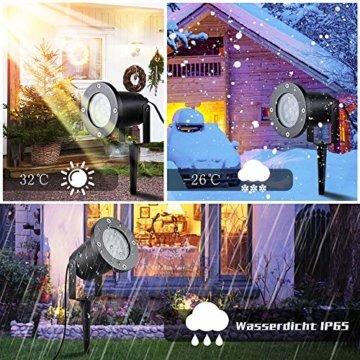 Wilktop Led Projektionslampe Weihnachtsbeleuchtung Led Projektor für Weihnachten/Halloween Projektionslampe Wasserdichte IP65 Weihnachtsbeleuchtung Außen LED Schneeflocke Weihnachten (Weiß Snowflake) - 8