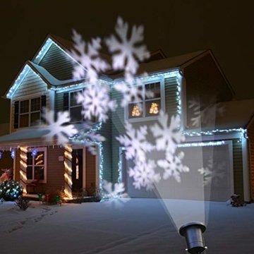 Wilktop Led Projektionslampe Weihnachtsbeleuchtung Led Projektor für Weihnachten/Halloween Projektionslampe Wasserdichte IP65 Weihnachtsbeleuchtung Außen LED Schneeflocke Weihnachten (Weiß Snowflake) - 9