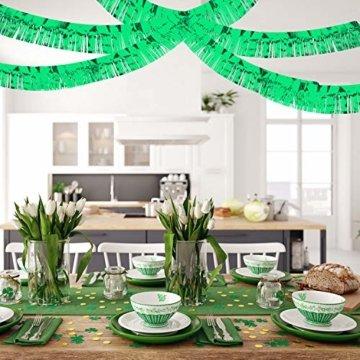 WILLBOND 4 Packungen 10 Füße Folie Fransen Girlande Metall Folie Lametta Fransen Girlande Wandbehang Fransen Banner für Hochzeit Geburtstag Party Urlaub Dekorationen und Mehr (Grün) - 7
