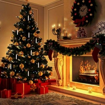 Witss 30er Christbaumkerzen Kabellos mit Fernbedienung Klipps 6H Timer Dimmbar Flackern Weihnachtsbaumkerzen für Weihnachten Hochzeit Party - 6