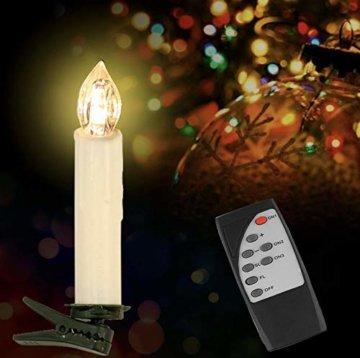 Witss 30er Christbaumkerzen Kabellos mit Fernbedienung Klipps 6H Timer Dimmbar Flackern Weihnachtsbaumkerzen für Weihnachten Hochzeit Party - 7