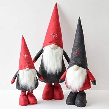WJHFF Weihnachten stehend Santa Claus geformte Puppe mit ausziehbaren Beinen, Weihnachtsszene Anordnung Fenster Dekoration Geschenk Spielzeug für Kinder - 2