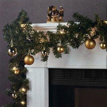 Wohaga Weihnachtsgirlande Tannengirlande Lichterkette 270cm 180 Spitzen 20 Lampen 16 Kugeln Gold - 1