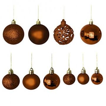 Wohaga Weihnachtskugel-Set Christbaumkugeln Baumschmuck Weihnachtsbaumschmuck Baumkugeln, Farbe:Braun, Größe:100 - 3
