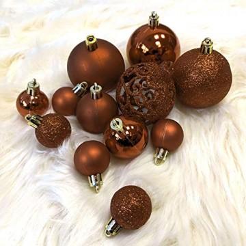 Wohaga Weihnachtskugel-Set Christbaumkugeln Baumschmuck Weihnachtsbaumschmuck Baumkugeln, Farbe:Braun, Größe:100 - 4