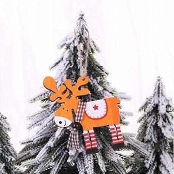 Wohlstand 6X Weihnachten Hirsch Rentier Holz Handwerk Ornament Hänge Anhänger Dekoration Weihnachten Elch Holz Christbaumschmuck Weihnachten Hängen Anhänger Dekoration Geschenke Partei Liefert - 2