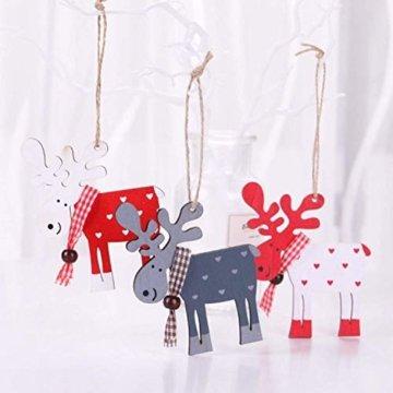 Wohlstand 6X Weihnachten Hirsch Rentier Holz Handwerk Ornament Hänge Anhänger Dekoration Weihnachten Elch Holz Christbaumschmuck Weihnachten Hängen Anhänger Dekoration Geschenke Partei Liefert - 4