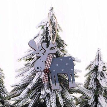 Wohlstand 6X Weihnachten Hirsch Rentier Holz Handwerk Ornament Hänge Anhänger Dekoration Weihnachten Elch Holz Christbaumschmuck Weihnachten Hängen Anhänger Dekoration Geschenke Partei Liefert - 5
