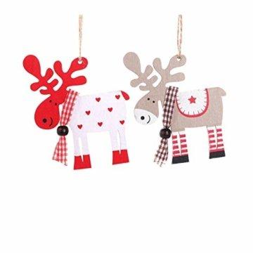 Wohlstand 6X Weihnachten Hirsch Rentier Holz Handwerk Ornament Hänge Anhänger Dekoration Weihnachten Elch Holz Christbaumschmuck Weihnachten Hängen Anhänger Dekoration Geschenke Partei Liefert - 7