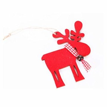 Wohlstand 6X Weihnachten Hirsch Rentier Holz Handwerk Ornament Hänge Anhänger Dekoration Weihnachten Elch Holz Christbaumschmuck Weihnachten Hängen Anhänger Dekoration Geschenke Partei Liefert - 8