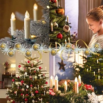 wolketon LED Weihnachtskerzen 10er Kabellose Kerzen, LED Christbaumkerzen mit Timer, Beige, Warmweiß und RGB, Flammenlose - 2