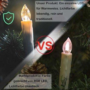 wolketon LED Weihnachtskerzen 10er Kabellose Kerzen, LED Christbaumkerzen mit Timer, Beige, Warmweiß und RGB, Flammenlose - 3