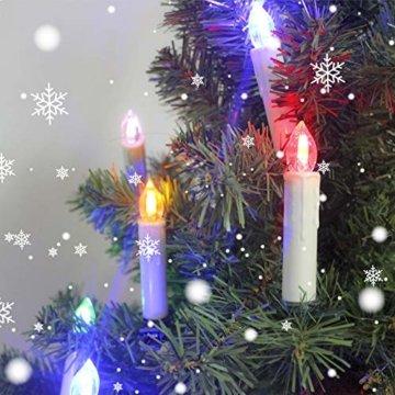 wolketon LED Weihnachtskerzen 10er Kabellose Kerzen, LED Christbaumkerzen mit Timer, Beige, Warmweiß und RGB, Flammenlose - 4