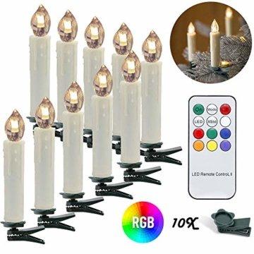 wolketon LED Weihnachtskerzen 10er Kabellose Kerzen, LED Christbaumkerzen mit Timer, Beige, Warmweiß und RGB, Flammenlose - 1