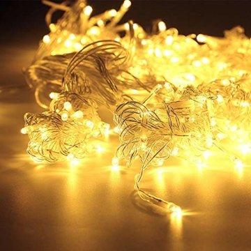 WOWDSGN 25M 200 LEDs Lichterkette, Warmweiß, 8 Leuchtmodi Dimmbar, Strombetrieben mit EU Stecker, IP44 Wasserdicht, Lichterkette für Party, Feier, Hochzeit, Weihnachtsbeleuchtung für Innen und Außen - 2