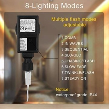 WOWDSGN 25M 200 LEDs Lichterkette, Warmweiß, 8 Leuchtmodi Dimmbar, Strombetrieben mit EU Stecker, IP44 Wasserdicht, Lichterkette für Party, Feier, Hochzeit, Weihnachtsbeleuchtung für Innen und Außen - 4
