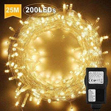 WOWDSGN 25M 200 LEDs Lichterkette, Warmweiß, 8 Leuchtmodi Dimmbar, Strombetrieben mit EU Stecker, IP44 Wasserdicht, Lichterkette für Party, Feier, Hochzeit, Weihnachtsbeleuchtung für Innen und Außen - 1