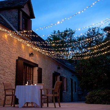 WOWDSGN 25M 200 LEDs Lichterkette, Warmweiß, 8 Leuchtmodi Dimmbar, Strombetrieben mit EU Stecker, IP44 Wasserdicht, Lichterkette für Party, Feier, Hochzeit, Weihnachtsbeleuchtung für Innen und Außen - 5