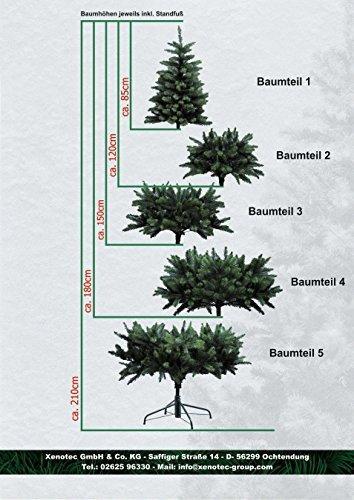 Xenotec PE- Weihnachtsbaum künstlich ca. 150 cm hoch mit 166 LED- warmweißes Licht- Das Original - 4