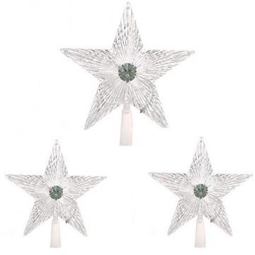 XiangZe Weihnachtsbaum Stern,Christbaumspitze Stern Tannenbaum Spitze Mehrfarben LED für Feiertags-Dekorationen, glitzernder Stern Baumspitze, Weihnachtsbaum Topper Ornamente in warmen Licht - 5