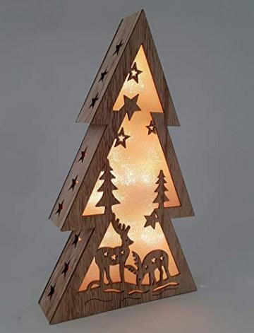 XL Weihnachtsdeko Holz LED beleuchtet mit 3D Effekt 32cm Hoch Lichterhaus Weihnachten - 2