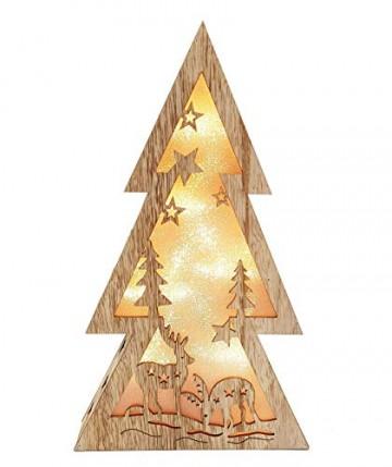 XL Weihnachtsdeko Holz LED beleuchtet mit 3D Effekt 32cm Hoch Lichterhaus Weihnachten - 3