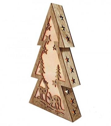 XL Weihnachtsdeko Holz LED beleuchtet mit 3D Effekt 32cm Hoch Lichterhaus Weihnachten - 4