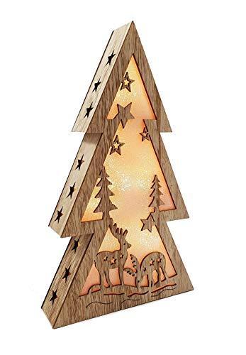 XL Weihnachtsdeko Holz LED beleuchtet mit 3D Effekt 32cm Hoch Lichterhaus Weihnachten - 1