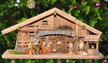 XL Weihnachtskrippe + Zubehör, Ausführung: massiv Vollholz Massivholz groß KOMPLETT mit Figuren UND Beleuchtungsset LED Laterne mit Lämpchen + Anschlussleiste + K70MFTL - 4